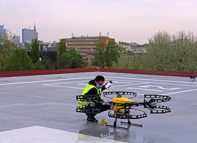 Drone at Warsaw' hospital - (c) PANSA